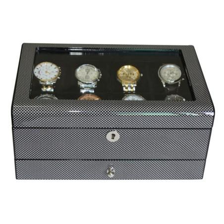Klocklåda / klockbox i snygg kolfiber look - för 8 klockor och smycken
