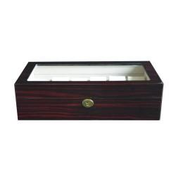 Klocklåda / klockbox av ebenholts trä - förvaring av 12 klockor