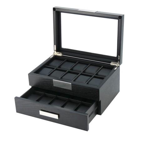 Klocklåda / klockbox för 20 klockor i matt svart träfaner - med låda
