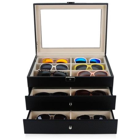 Box för 18 flugor / glasögon - svart kolfiber look