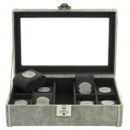 Friedrich klockbox / klocklåda av äkta grå läder, för 8 klockor