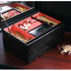 Friedrich smyckeskrin av svart läder - stor med spegel och lådor