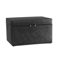 Friedrich smyckeskrin av svart läder - med spegel och 2 lådor