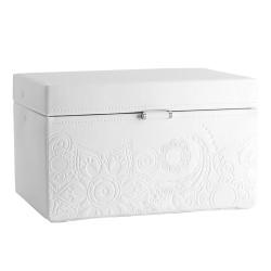 Friedrich smyckeskrin av vitt läder - med spegel och 2 lådor